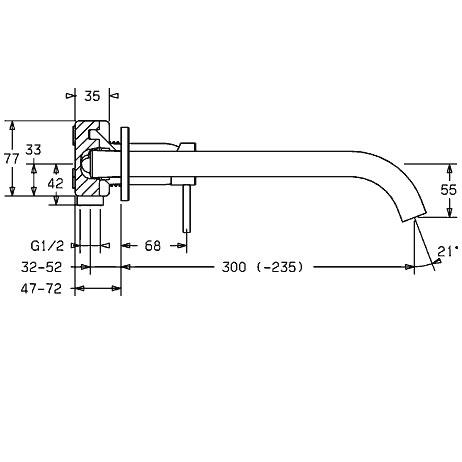 Hansa Public Waschtisch-Einhand-Wandbatterie, Auslauf Ø 26 mm Ausladung: 300 mm