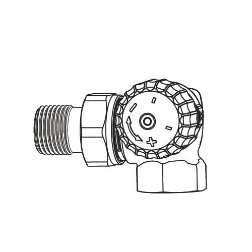 "HEIMEIER V-exact II Thermostat-Ventilunterteil Winkeleck rechts/links DN10 (3/8"")"