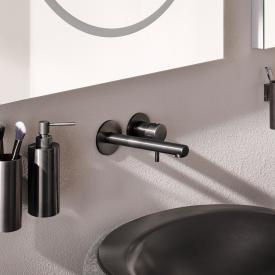 Herzbach Design iX Neu PVD Waschtisch-Unterputzbatterie für Wandmontage black steel, Ausladung 210 mm
