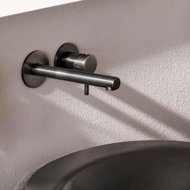 Herzbach Design iX PVD Waschtisch-Unterputzbatterie für Wandmontage black steel, Ausladung: 160 mm