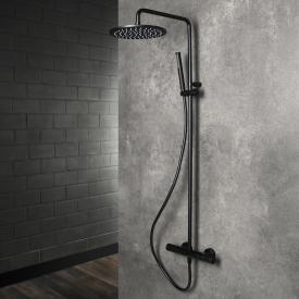 Herzbach Living Spa Duschsäule mit Brause-Aufputz-Thermostat mit Stabhandbrause schwarz matt