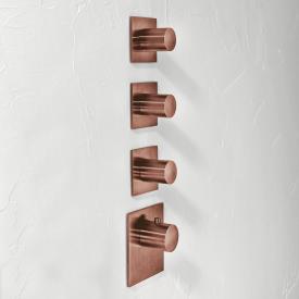 Herzbach Logic XL 3 Universal-Thermostat-Modul mit vier eckigen Blenden und runden Griffen copper steel