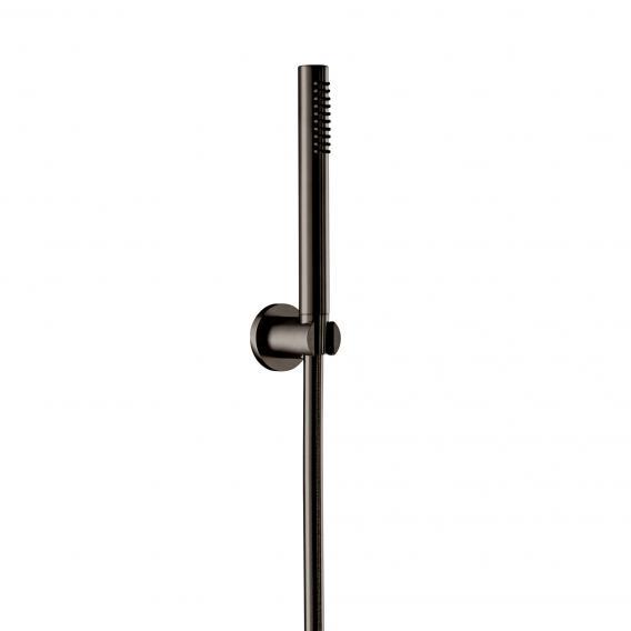 Herzbach Design iX PVD Wannenset mit Konushalter, rund Länge: 1250 mm, black steel