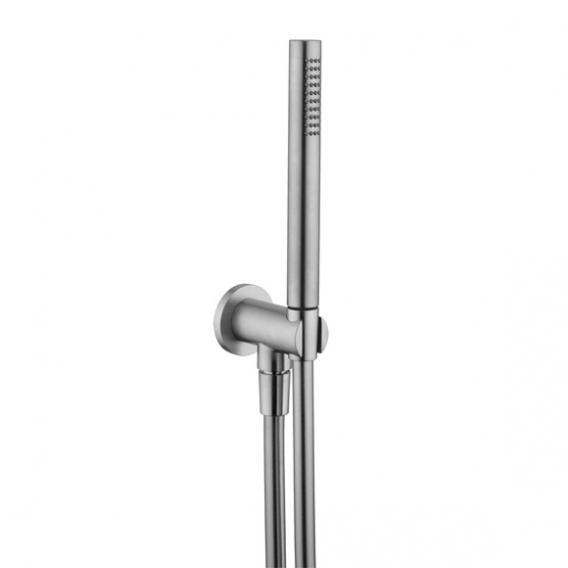 Herzbach Living Spa iX Wannenset rund, mit  Brausehalter & -anschluss, mit Brauseschlauch 1600 mm edelstahl gebürstet