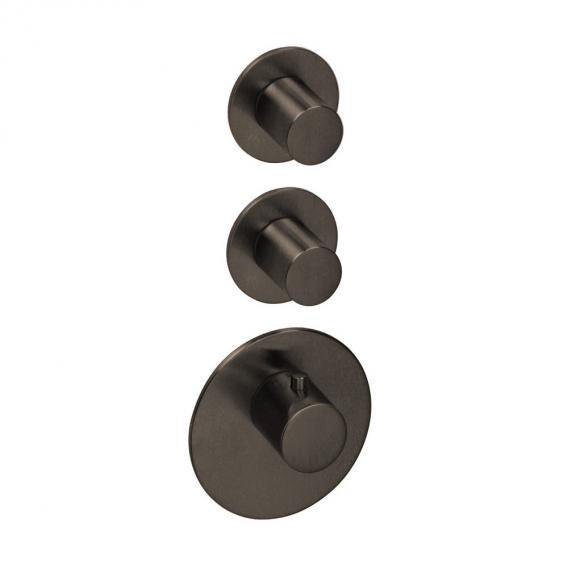 Herzbach Logic XL 2 Universal-Thermostat-Modul mit drei runden Blenden und Griffen black steel