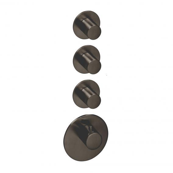 Herzbach Logic XL 3 Universal-Thermostat-Modul mit vier runden Blenden und Griffen black steel