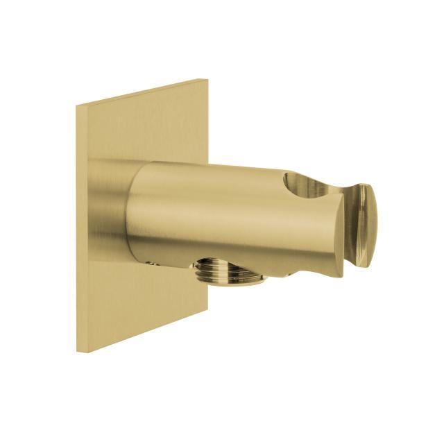 Herzbach Design iX PVD Brauseanschlussbogen mit integriertem Brausehalter seven eckig brass steel