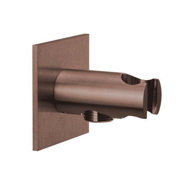 Herzbach Design iX PVD Brauseanschlussbogen mit integriertem Brausehalter seven eckig copper steel