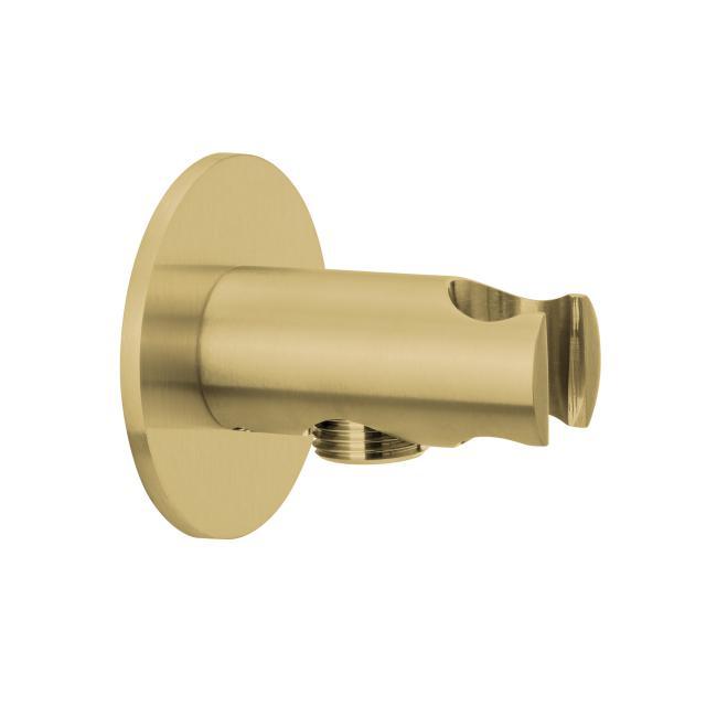 Herzbach Design iX PVD Brauseanschlussbogen mit integriertem Brausehalter seven rund brass steel