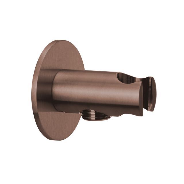 Herzbach Design iX PVD Brauseanschlussbogen mit integriertem Brausehalter seven rund copper steel