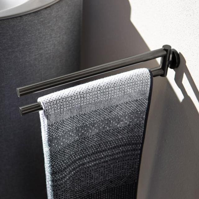 Herzbach Design iX PVD Handtuchhalter 2- teilig black steel