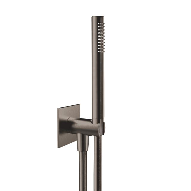 Herzbach Design iX PVD Wannen-Duschset seven eckig mit Brausehalter & -anschluss Länge: 1250 mm, black steel
