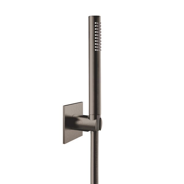 Herzbach Design iX PVD Wannen-Duschset seven eckig mit Brausehalter Länge: 1250 mm, black steel