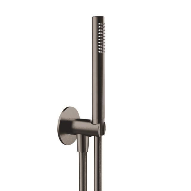 Herzbach Design iX PVD Wannen-Duschset seven rund mit Brausehalter & -anschluss Länge: 1250 mm, black steel