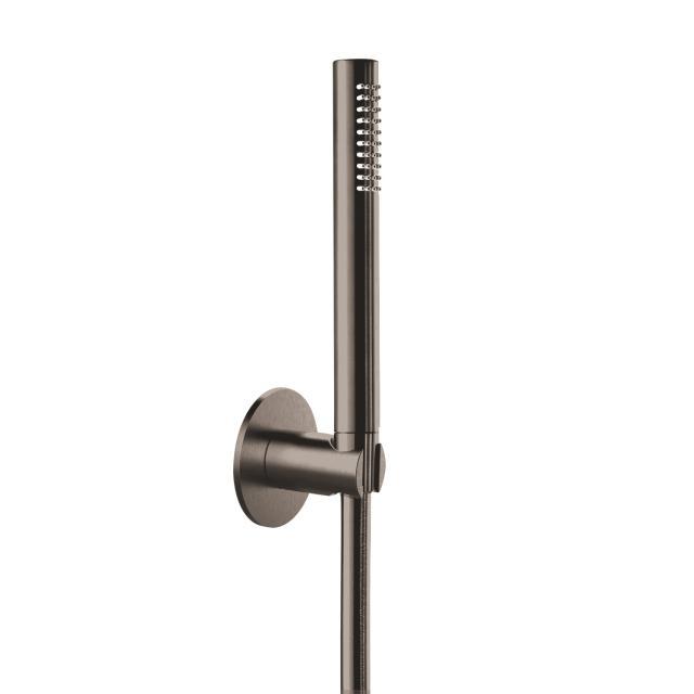 Herzbach Design iX PVD Wannen-Duschset seven rund mit Brausehalter Länge: 1250 mm, black steel
