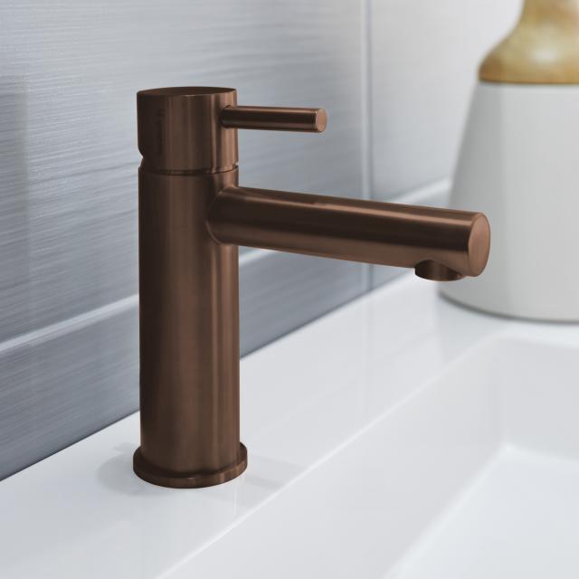 Herzbach Design iX PVD Waschtisch-Einlochbatterie copper steel, ohne Ablaufgarnitur