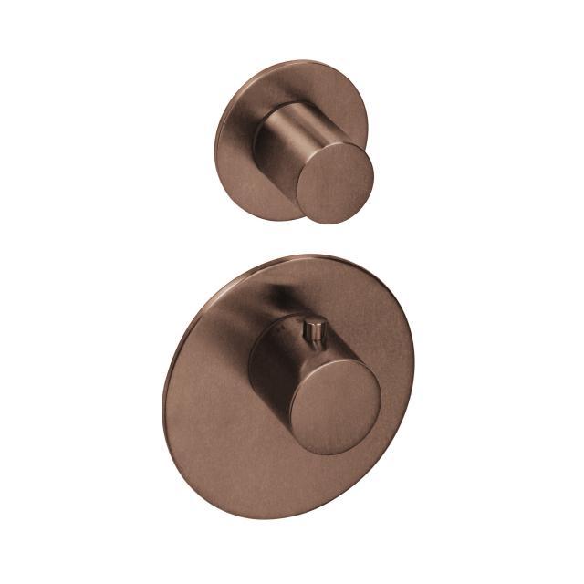 Herzbach Logic XL 1 Farbset für Universal-Thermostat-Modul mit zwei runden Blenden und runden Griffen copper steel