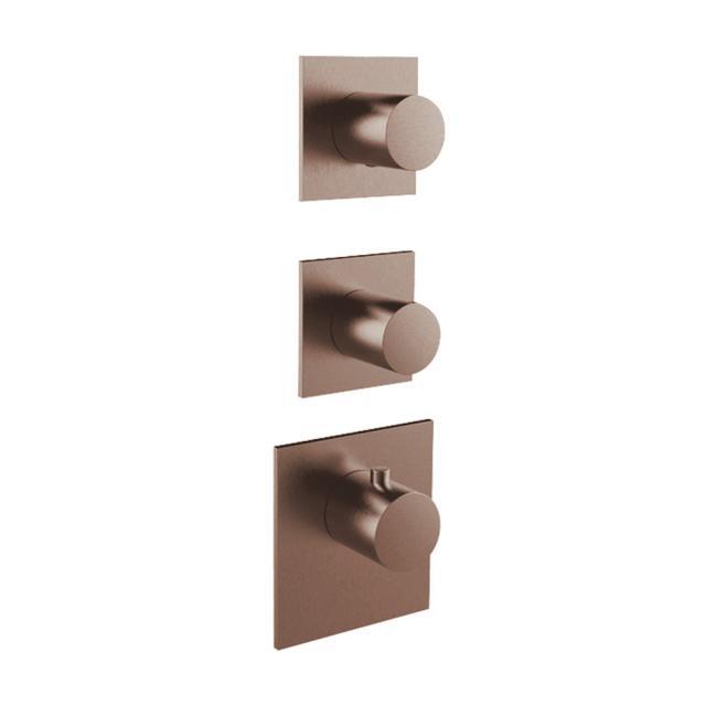 Herzbach Logic XL 2 Universal-Thermostat-Modul mit drei eckigen Blenden und runden Griffen copper steel