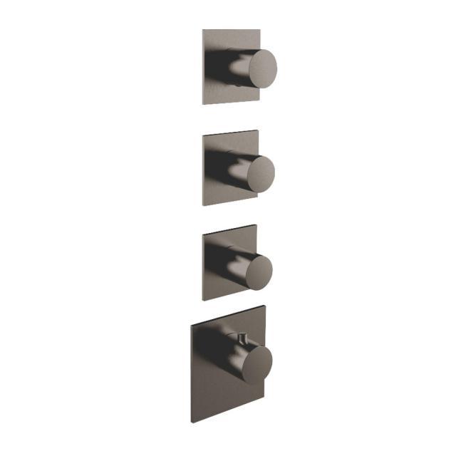 Herzbach Logic XL 3 Universal-Thermostat-Modul mit vier eckigen Blenden und runden Griffen black steel