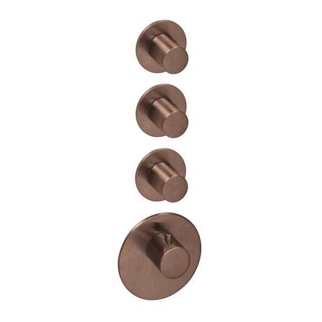 Herzbach Logic XL 3 Universal-Thermostat-Modul mit vier runden Blenden und Griffen copper steel