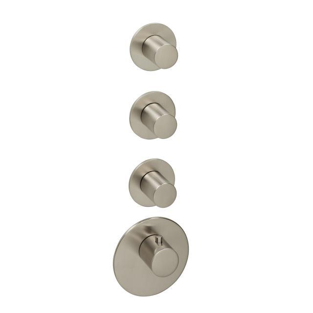 Herzbach Logic XL 3 Universal-Thermostat-Modul mit vier runden Blenden und Griffen edelstahl gebürstet