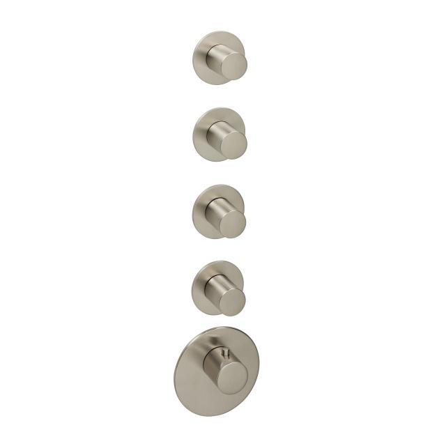 Herzbach Logic XL 4 Farbset für Universal-Thermostat-Modul mit fünf runden Blenden und runden Griffen edelstahl gebürstet
