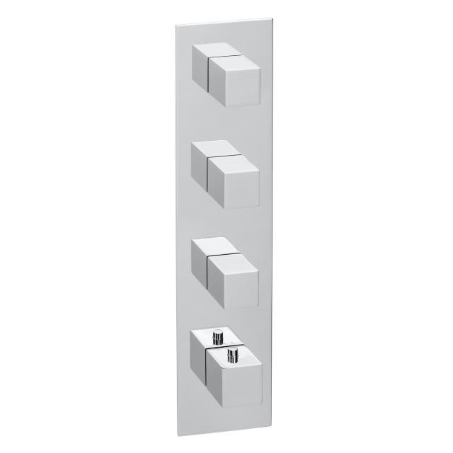 Herzbach Logic XL 3 Farbset für Universal-Thermostat-Modul mit einer eckigen Blende und eckigen Griffen chrom