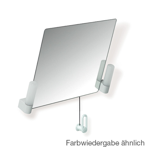 Hewi Serie 801 Kippspiegel mit Beleuchtung reinweiß