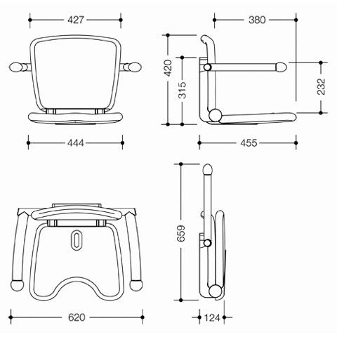 Hewi Serie 802 LifeSystem Klappsitz Premium lichtgrau/silber matt
