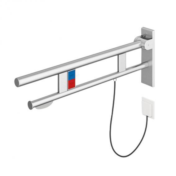 Hewi System 900 Stützklappgriff mit Spül-, Funktionstaste & Papierhalter edelstahl gebürstet