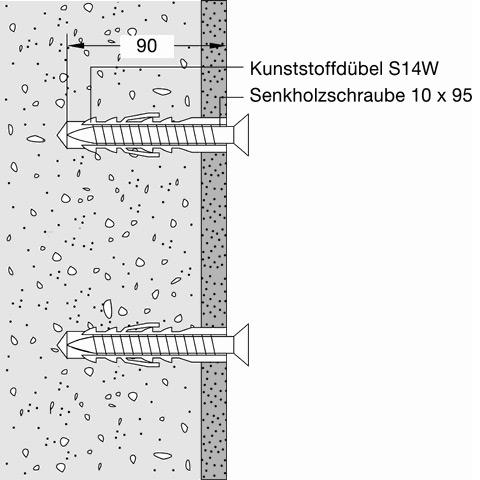 Hewi Befestigungsmaterial für Betonwände für Klappsitze