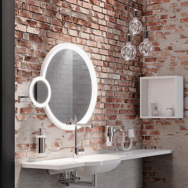 Hewi LED-Kosmetikspiegel zur Wandmontage, mit 5-fach Vergrößerung chrom