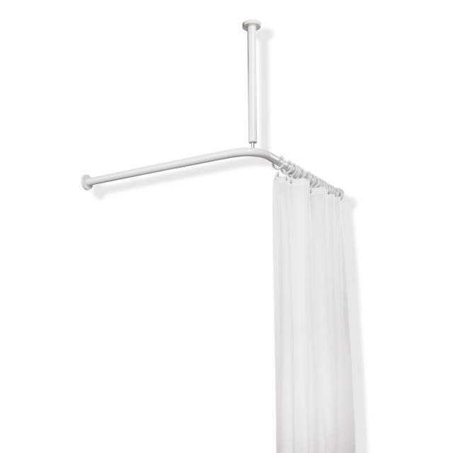 Hewi Serie 801 Vorhangstange mit Deckenabhängung und Duschvorhang reinweiß