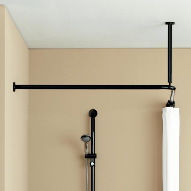 Hewi Serie 801 Vorhangstange mit Deckenabhängung und Duschvorhang tiefschwarz