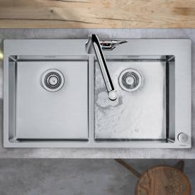 Hansgrohe C71 Select-Spülencombi 370 x 370, mit 2 Becken B: 86,5 T: 50 cm chrom