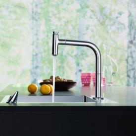 Hansgrohe Metris Select 2-Loch Einhebel-Küchenmischer 200 mit Ausziehauslauf und sBox chrom
