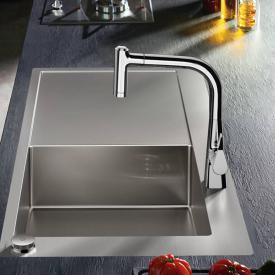 Hansgrohe Metris Select 2-Loch Einhebel-Küchenmischer 220 mit Ausziehbrause und sBox chrom