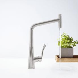 Hansgrohe Metris Select Einhebel-Küchenmischer 320 mit Ausziehauslauf und sBox edelstahl optik