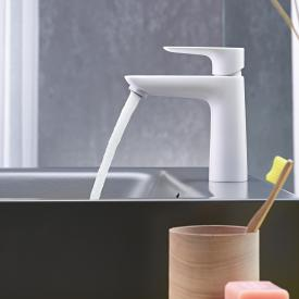 Hansgrohe Talis E Einhebel-Waschtischmischer 110 CoolStart weiß matt, mit Ablaufgarnitur