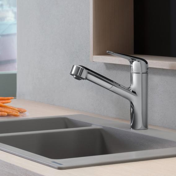 Hansgrohe Focus M42 Einhebel-Küchenmischer 150, mit Ausziehauslauf und sBox chrom