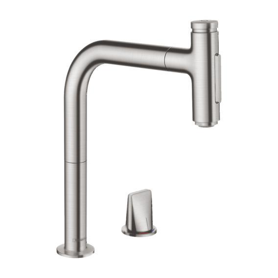 Hansgrohe Metris Select M71 2-Loch Einhebel-Küchenmischer 200 mit Ausziehauslauf und sBox edelstahl