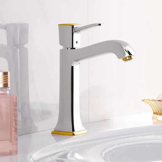 Hansgrohe Metropol Classic Einhebel-Waschtischmischer 160, für Waschschüsseln mit Ablaufgarnitur, chrom/gold