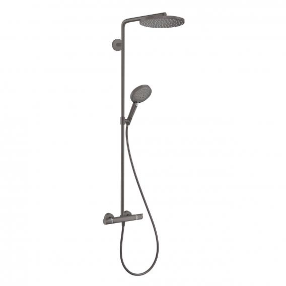Hansgrohe Raindance Select S Showerpipe 240 1jet PowderRain mit Thermostat schwarz chrom gebürstet