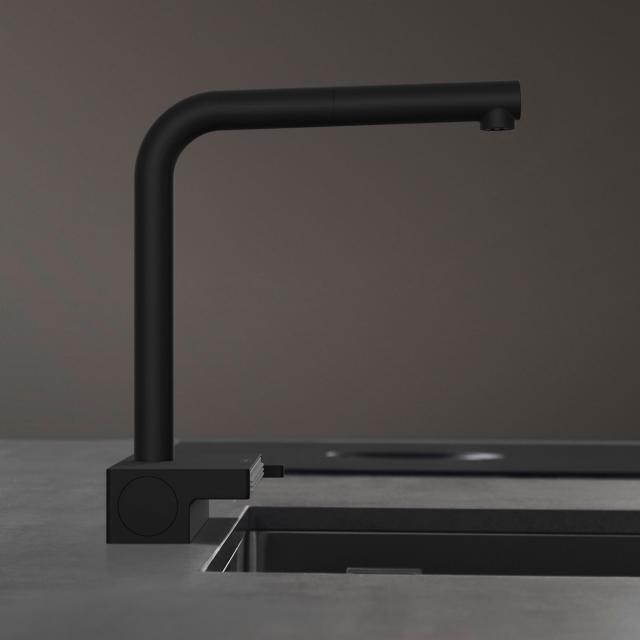 Hansgrohe Aquno Select M81 Einhebel-Küchenmischer mit Ausziehauslauf schwarz matt