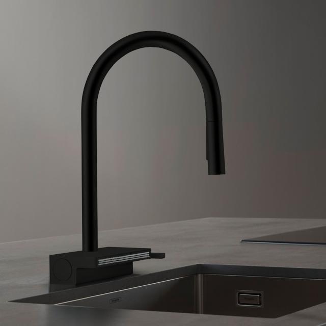 Hansgrohe Aquno Select M81 Einhebel-Küchenmischer mit Ausziehbrause und sBox schwarz matt