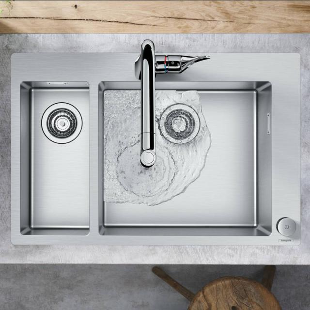 Hansgrohe C71 Select-Spülencombi 180 x 450, mit 2 Becken B: 75,5 T: 50 cm chrom