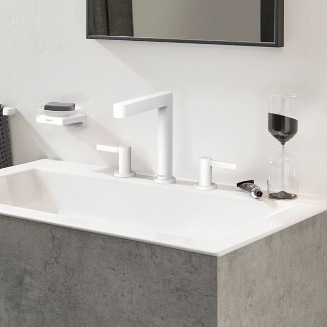 Hansgrohe Finoris 3-Loch Waschtischarmatur 160 mit Ablaufgarnitur weiß matt