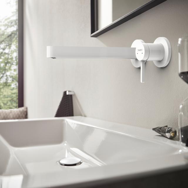 Hansgrohe Finoris Einhebel-Waschtischmischer für Wandmontage weiß matt, Ausladung: 228 mm