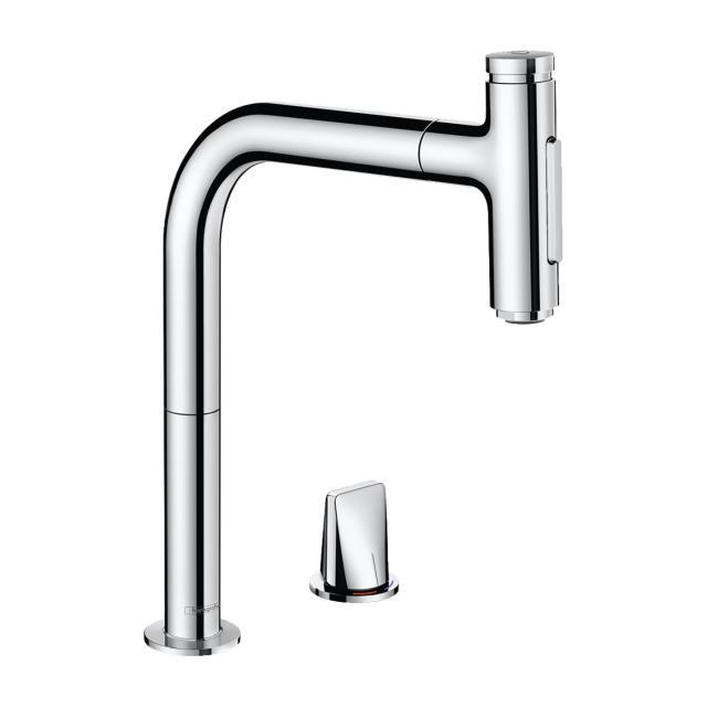 Hansgrohe Metris Select M71 2-Loch Einhebel-Küchenmischer 200 mit Ausziehauslauf und sBox chrom