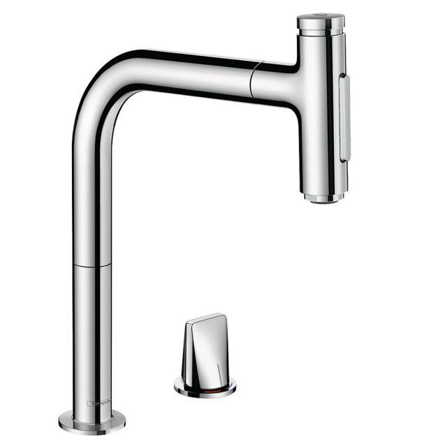 Hansgrohe Metris Select M71 Küchenarmatur 200 mit ausziehbarer Dual-Spülbrause chrom